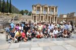 Happy group at Ephesus Celcius Library on Archaeologous tour